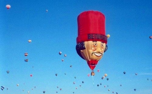 Head-shaped hot air balloon