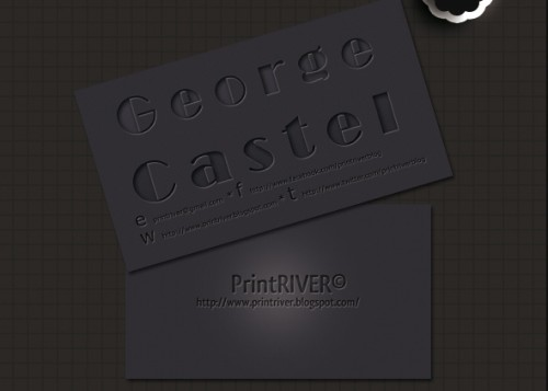 Dark Letterpress Style Business Card