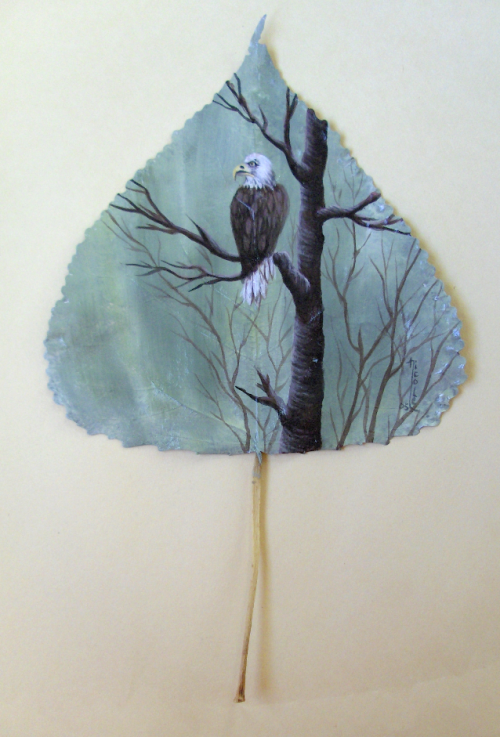 Eagle...painted on a leaf