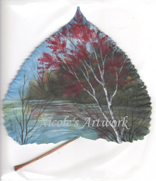 Fall Scene on a leaf