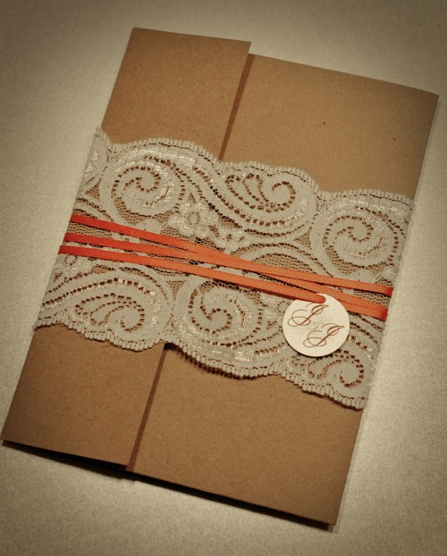 Lace Recycled Wedding Invitations