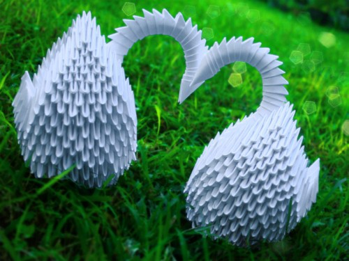 Origami heart swans