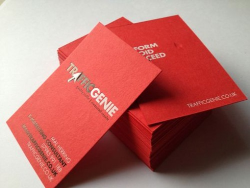 Red Letterpress Business Card Design