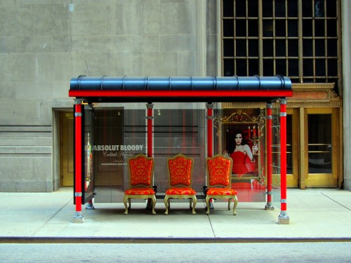 sophisticated bus stop in chicago