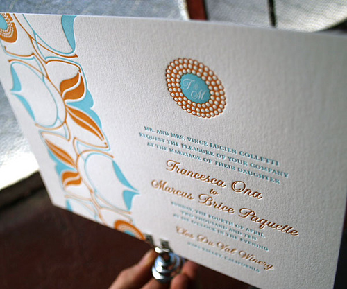 Onalisse letterpress wedding invitations