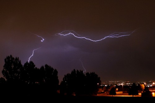Lightning over the Salt Lake valley