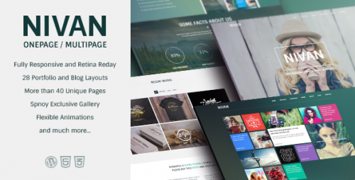 Nivan - One Page, Multi Page WordPress Theme