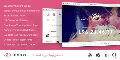 XOXO - Elegant Wedding WordPress Theme