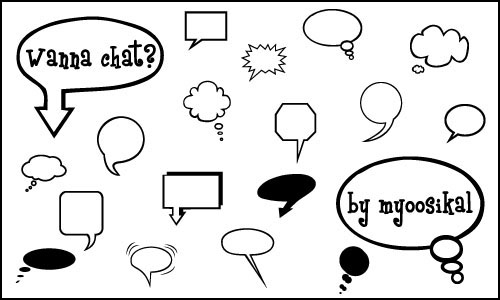 92 Icon Sized Speech Bubble Brushes