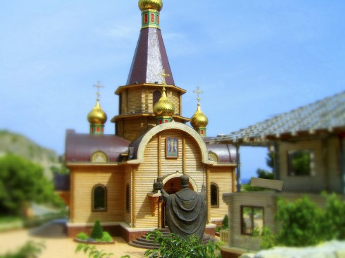 Tilt Shift Matchstick Church